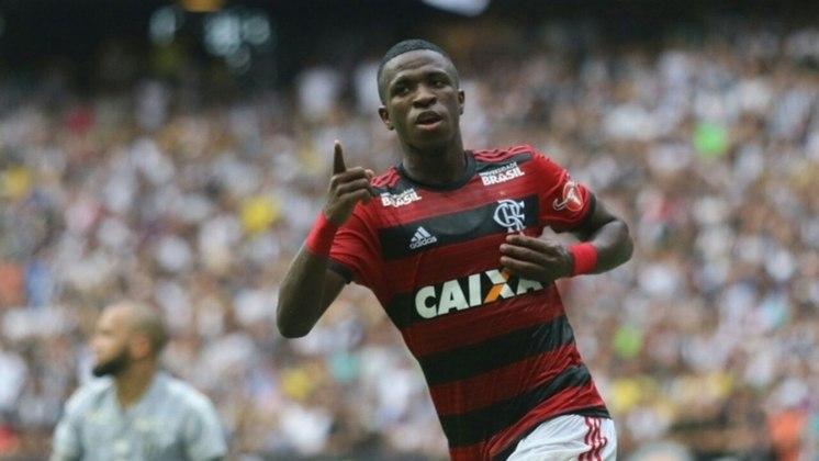 Vinícius Jr. - 45 milhões de euros (cerca de R$ 157 milhões na cotação da época), sendo que o Flamengo ficou com o Flamengo ficará com aproximadamente R$ 100 milhões