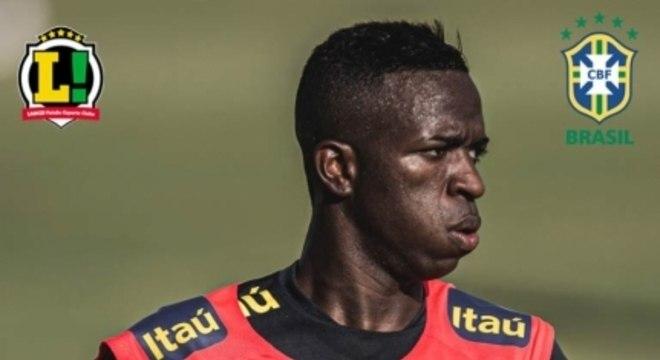 Vinicius Jr. - 5,0 - Na sua estreia pela Seleção principal, entrou com muita vontade e até teve uma chance de finalizar dentro da área, mas pegou mal na bola.