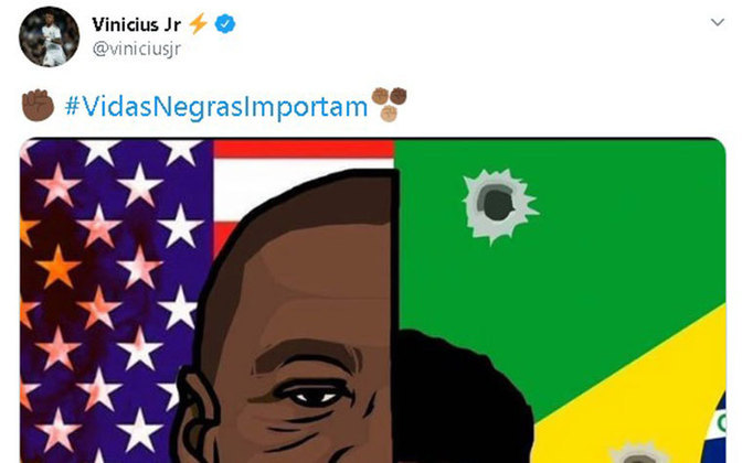 Vinícius Júnior dedica gols à luta contra o racismo em suas redes socias. O jogador vem postando sobre sua luta contra o racismo mundial cada vez mais e usando sua voz para expor as dificuldades do dia a dia.