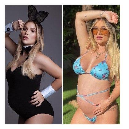 Aos 8 meses de gravidez, Virginia Fonseca acredita ter engordado entre 14 kg e 17 kg durante a gestação, o que a fez chegar aos 84 kg.