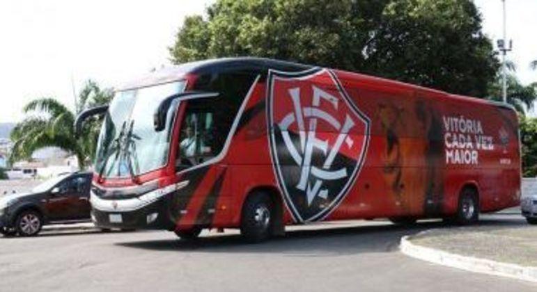 Ônibus do Vitória, que ainda não possui as artes do projeto