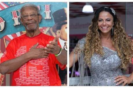 Milton Gonçalves e Viviane Araújo foram ao Salgueiro
