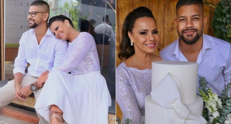 Viviane Araújo e Guilherme MilitãoOutro casal que decidiu celebrar a união durante a quarentena, Viviane e Guilherme convidaram poucos amigos e familiares para um casamento discreto. Eles