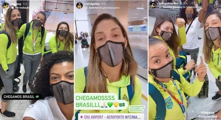 Jogadoras de vôlei postaram a chegada ao Brasil