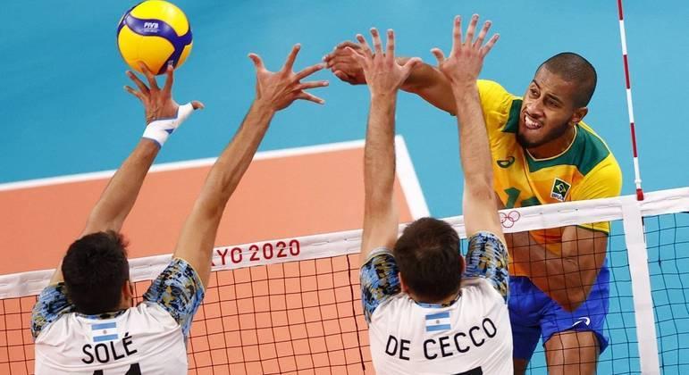 Brasil perdeu por 3 sets a 2 para a Argentina