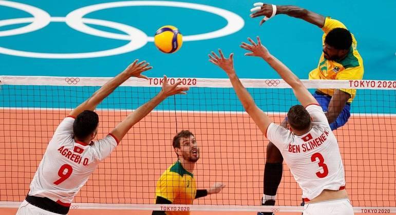 Vôlei masculino, Brasil, Tunísia, Olimpíada, Tóquio 200