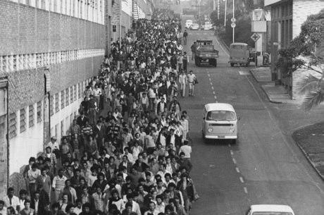 Metalúrgicos da Volkswagen durante greve em 1978