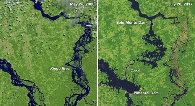 Imagens de satélite mostram como vazão de água na Volta Grande do Xingu caiu drasticamente