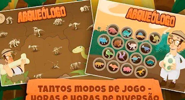 Voltado para os dinossauros, o aplicativo leva as crianças a se divertirem ao explorar e escavar esse mundo perdido. Ele ainda contém quebra-cabeças e sons.
