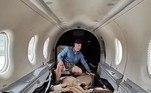 Esse é o tipo de imagem que você ansiava por ver e ainda não sabia: três leões sedados cuidadosamente acomodados em um avião, que minutos depois voou acima da África do Sul