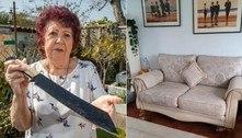Vovó acha facão em sofá comprado na web e avisa: 'Pode cortar pernas'