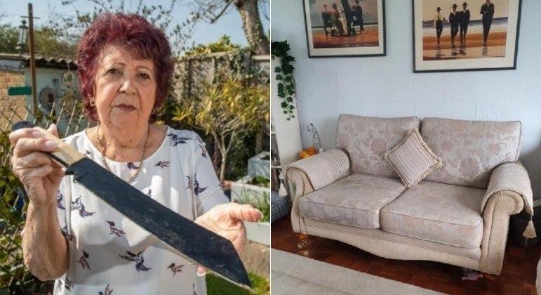 A senhora acima encontrou um facão no sofá que comprou pelo Facebook há 1 ano