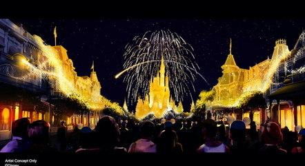 Arte mostra conceito de como será o novo show noturno do Magic Kingdom