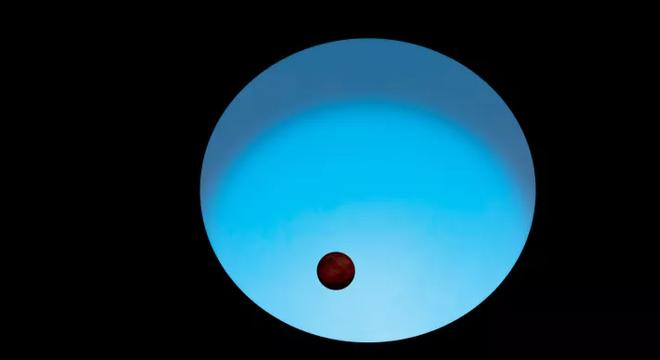 Uma ilustração do planeta WASP-189 b em contraste com sua estrela