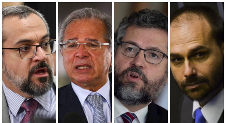 Expoentes da batalha ideológica contra a China: Weintraub (à esq.), Guedes, Ernesto Araújo e Eduardo Bolsonaro