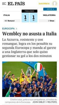 """""""Wembley não assusta a Itália"""" foi o que escreveu o jornal espanhol """"El País"""", ressaltando o triunfo da Azurra na casa do adversário."""