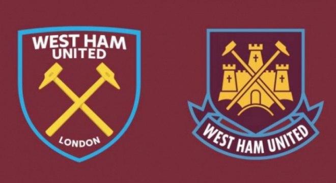West Ham - O londrino West Ham trocou de escudo na temporada 2016-17 para celebrar sua mudança de estádio - passou a jogar no Olímpico, construído para os Jogos de 2012. O novo emblema (esquerda) ficou mais simples