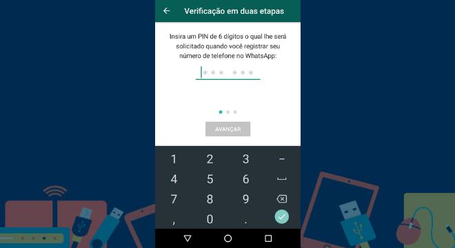 Na etapa seguinte, será preciso escolher um código de seis dígitos que deverá ser usada para fazer um novo login em outro aparelho. O WhatsApp pedira para confirmar os números escolhidos