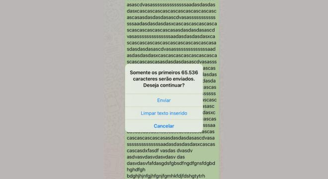 Usuários do WhatsApp podem enviar uma mensagem com mais de 65 mil caracteres