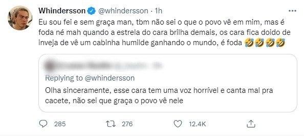Whindersson Nunes rebate seguidor que o chamou de feio