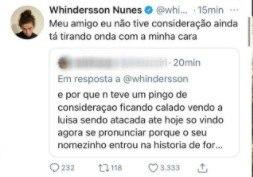 Whindersson Nunes rebate comentário de seguidor