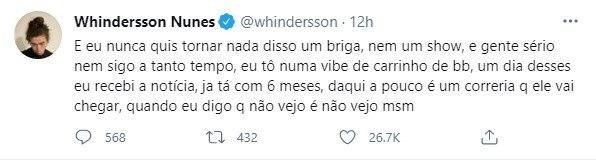 Whindersson Nunes diz que não quis tranformar assunto em briga