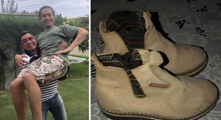 Hidelbrando brinca de carregar o filho no colo e mostra calçado que foi do youtuber