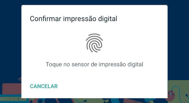 Agora, toque no sensor de impressão digital do seu celular para ativar o serviço. Ao tocar, o aplicativo irá validar a leitura da digital