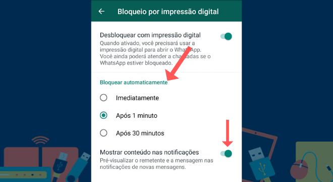Nesta etapa, é possível escolher o tempo que o WhatsApp pode ficar desativado sem a impressão digital, as opções são: Imediatamente, após 1 minuto e após 30 minutos. Também é possível escolher se ainda deseja receber as notificações do aplicativo na tela do smartphone