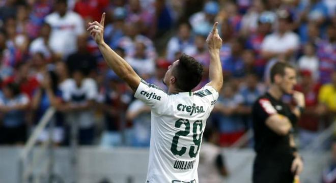 Willian fez o gol palmeirense. Na partida sem emoção contra o Fortaleza