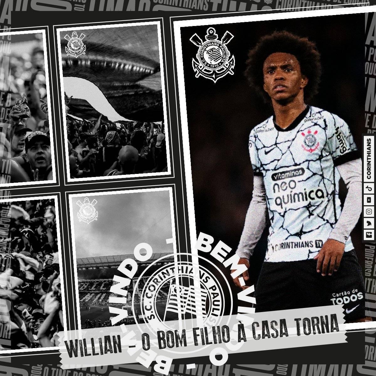 Willian foi anunciado oficialmente pelo Corinthians. Não há mais a mínima dúvida