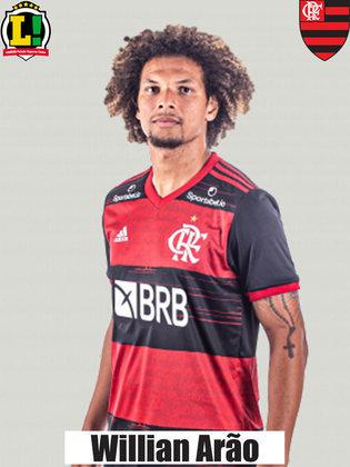 WILLIAN ARÃO - 5,0 - Hesitante na proteção à marcação, titubeou após passe de Léo Pereira e quase permitiu um gol do Bahia na reta final. Oscilou em alguns momentos.