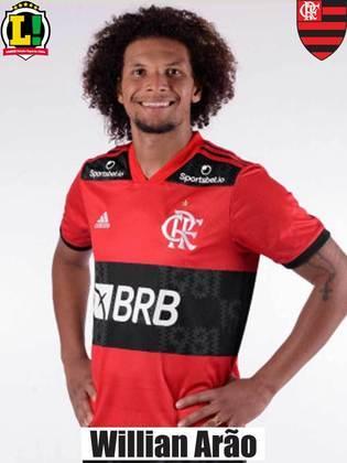 WILLIAN ARÃO - NOTA 6,5 - Não apareceu muito para o jogo em termos ofensivos, mas foi importante para o Flamengo sair da pressão colocada pelo Athletico na saída de bola - principalmente durante o segundo tempo.