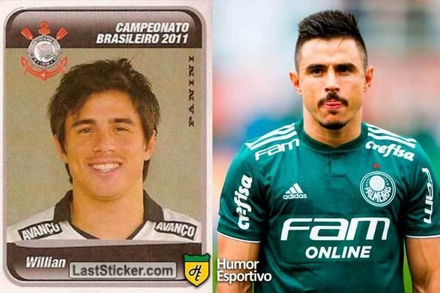 Willian jogou pelo Corinthians em 2011. Inicia o Brasileirão 2021 com 34 anos e jogando pelo Palmeiras.