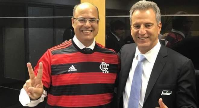 Witzel e o presidente do Flamengo, Rodolfo Landim. Defensores do retorno