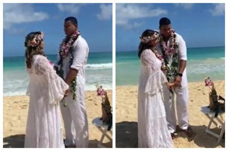 Xanddy e Carla renovaram votos no Havaí