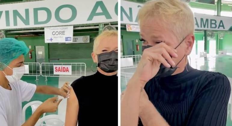 Xuxa foi vacinada quadra da escola de samba Mocidade Independente de Padre Miguel, no Rio