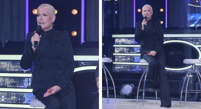 Xuxa com terno de abotoamento duplo