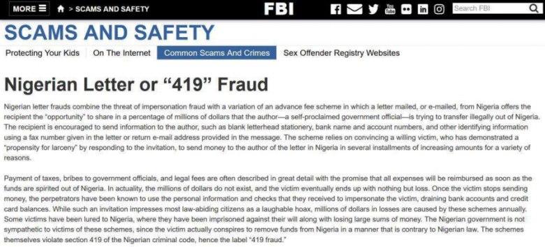 FBI mantém página para alertar possíveis alvos dos Yahoo Boys