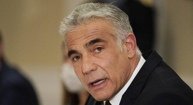 Yair Lapid Israel, chefe da diplomacia israelense, apresentou plano em conferência