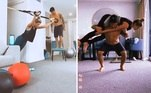 Sem poder sair, o casal teve de se virar, mas não abriu mão de fazer exercícios físicos. No Instagram, Yasmin dividiu detalhes do treino e mostrou que virou 'peso' de Medina. Com a mulher nas costas, o surfista fez uma série de agachamentos. Depois, Medina brincou e disse que era a vez de Yasmin carregá-lo: 'Tá maluco?', rebateu ela