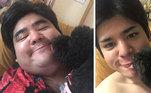 Depois de um ano, ele perdeu mais da metade do peso e ficou quase irreconhecível