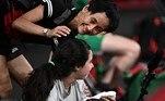 Hend Zaza (SYR) hits the ball against Jia Liu (AUT)