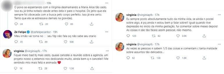 Zé Felipe xinga internauta que criticou sua mulher, Virginia Fonseca