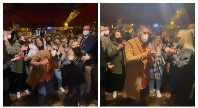 Casal gravou vídeo dançando e cantando com fãs e foi criticado por aglomeração