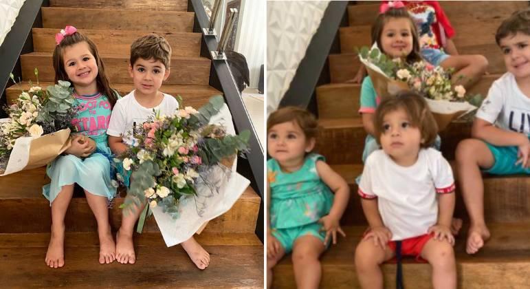 Filhos de Zé Neto e Cristiano ao receberem os pais em casa