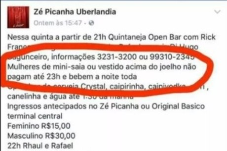 Post publicado no Facebook causou polêmica