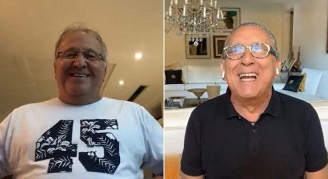 Zico e Galvão Bueno na entrevista da pelo narrador ao ex-jogador