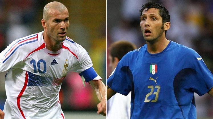 Zidane e Materazzi protagonizaram um dos principais embates em campo. Durante a final da Copa do Mundo de 2006, entre França e Itália, o zagueiro falou sobre a irmã do meia, que não gostou e acabou dando uma cabeçada no italiano. Zidane foi expulso e até hoje não engoliu o episódio.