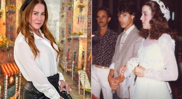 Empresária mostrou foto de casamento com o ex-marido, Zezé Di Camargo, na web